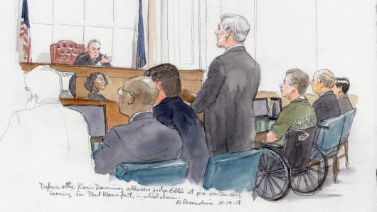 A courtroom sketch showing Paul Manafort dressed in a prison uniform and sitting in a wheel chair in court in Alexandria, VA on Oct. 19th, 2018.
