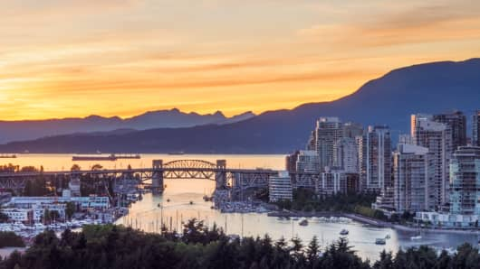 Vancouver skyline with Burrard bridge during sunset