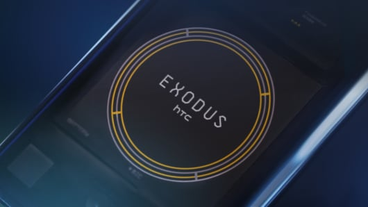 "HTC's ""blockchain phone,"" the Exodus 1. The phone can only be bought with cryptocurrency."