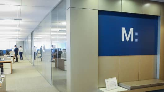 A logo is displayed on the Marcus by Goldman Sachs Group Inc. floor of the bank's headquarters in New York.