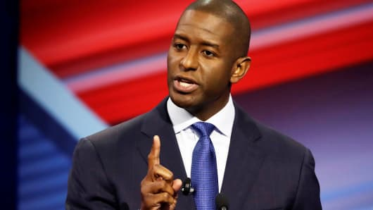 Florida Democratic gubernatorial candidate Andrew Gillum speaks during a debate in Tampa, Florida, October 21, 2018.