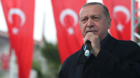 Turkish President Recep Tayyip Erdogan in Istanbul, Turkey on October 21, 2018.