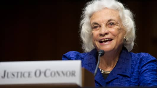 Former Supreme Court Justice Sandra Day O'Connor testifies before the Senate Judiciary Committee hearing on 'Ensuring Judicial Independence Through Civics Education' on July 25, 2012 in Washington, DC.