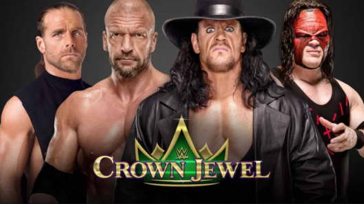 WWE Wrestlers participating in the Crown Jewel event in Saudi Arabia.