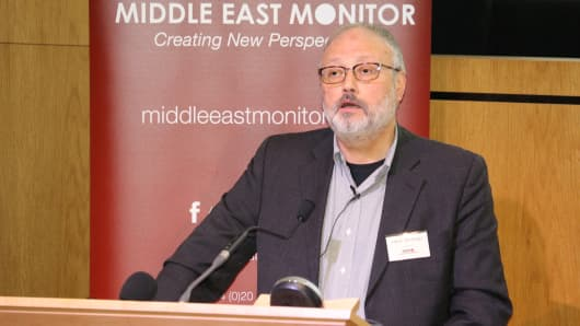 Saudi dissident Jamal Khashoggi speaks at an event hosted by Middle East Monitor in London Britain, September 29, 2018. Picture taken September 29, 2018.