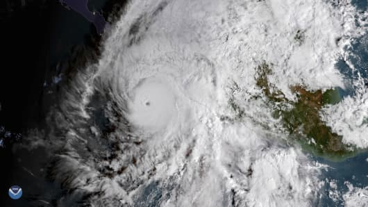 A satellite image of Hurricane Willa on Oct. 22nd, 2018.