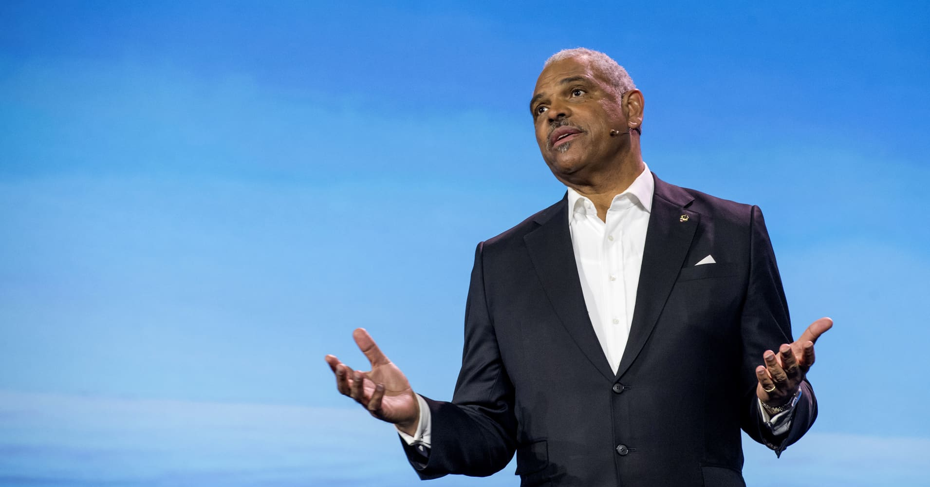Arnold Donald, president and chief executive officer of Carnival Corp., speaks during a keynote event at the 2017 Consumer Electronics Show (CES) in Las Vegas, Nevada, U.S., on Thursday, Jan. 5, 2017.
