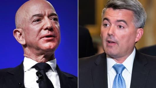 Jeff Bezos, left, and Cory Gardner