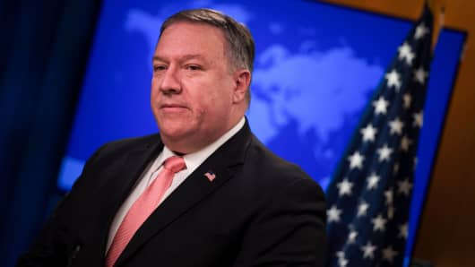 Secretary of State Mike Pompeo gives a press conference at the US Department of State in Washington, DC on October 23, 2018.