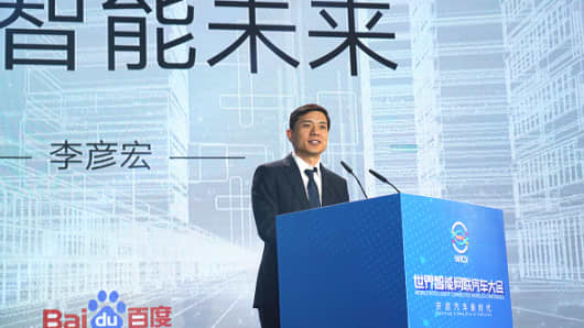 Robin Li Yanhong, co-founder and chief executive officer of Baidu Inc., speaks during the opening ceremony of 2018 China International Energy-saving and New Energy Vehicles Exhibition (IEEVChina) at China National Convention Center on October 18, 2018 in Beijing, China.