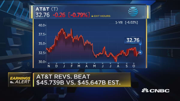 AT&T beats on top line, misses on earnings per share