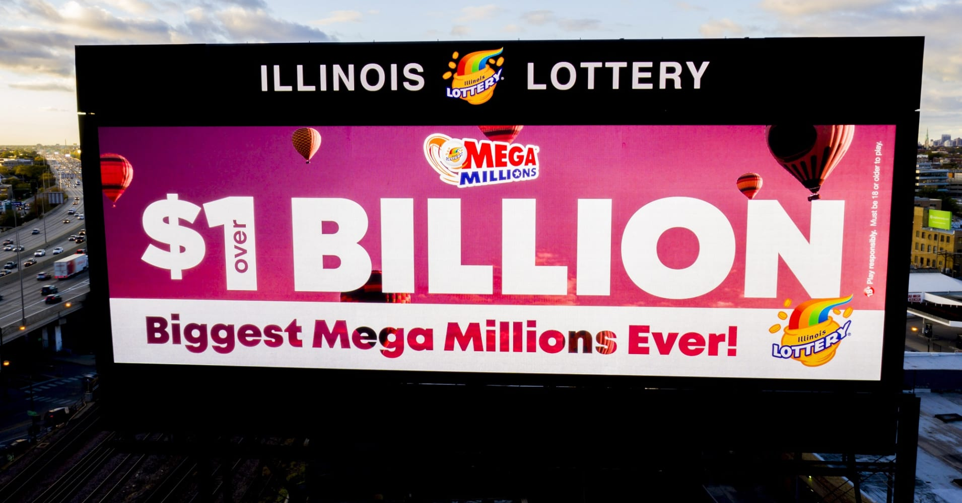 A billboard advertising the largest Mega Millions jackpot ever for Oct. 23, 2018.