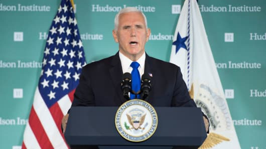 Vice President Mike Pence addresses the Hudson Institute on the administration's policy towards China in Washington, DC, on October 4, 2018.