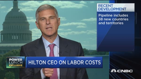 Hilton CEO says US market from development point of view is slowing down