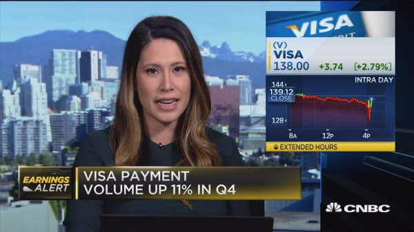 Visa earnings mostly in line with Wall Street's expectations
