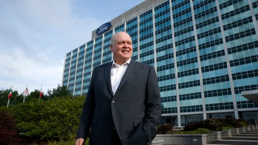 Jim Hackett, president and chief executive officer, Ford Motor stands outside the headquarters as they celebrate the production of the 10,000,000 Mustang on August 8, 2018 in Dearborn, Michigan.