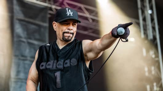 Ice-T performs on stage.
