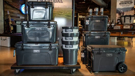 Coolers sit on display for sale at the Yeti Holdings Inc. flagship store in Austin, Texas, U.S., on Wednesday, Sept. 12, 2018.