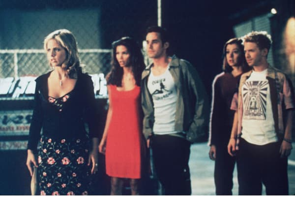 "The cast of ""Buffy The Vampire Slayer"" in 1998. From left to right: Sarah Michelle Gellar, Charisma Carpenter, Nicholas Brendon, Alyson Hannigan and Seth Green."