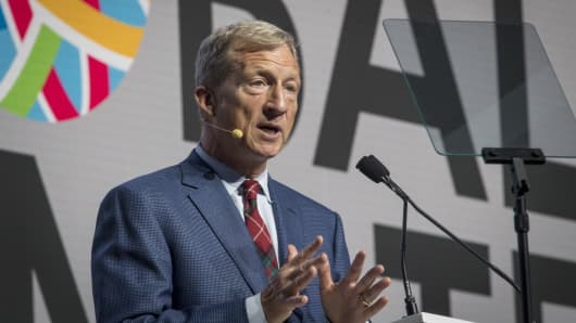 Tom Steyer, co-founder of NextGen Climate Action Committee, speaks during the Global Climate Action Summit in San Francisco, California, U.S., on Friday, Sept. 14, 2018.