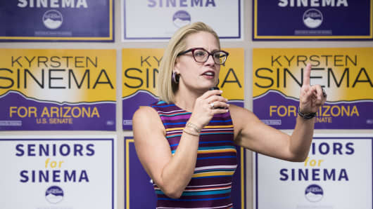 Democratic candidate for U.S. Senate Rep. Kyrsten Sinema, D-Ariz., speaks to supporters at the United Food and Commercial Workers union in Phoenix, Ariz., on Sunday, Oct. 21, 2018.