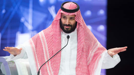 Crown Prince of Saudi Arabia Mohammad bin Salman speaks during the second day of 'The Future Investment Initiative also known as an annual investment forum 'Davos in the Desert' on October 24, 2018 in Riyadh, Saudi Arabia.     (Photo by Bandar Algaloud / Saudi Kingdom Council / Handout/Anadolu Agency/Getty Images)