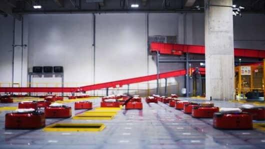 A conveyor belt inside JD.com's Shanghai warehouse