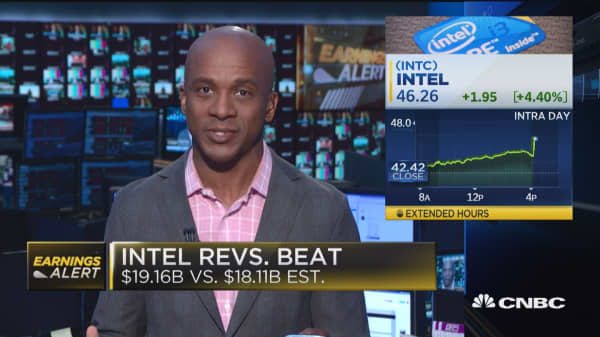 Intel beats earnings expectations, sending stock higher after hours