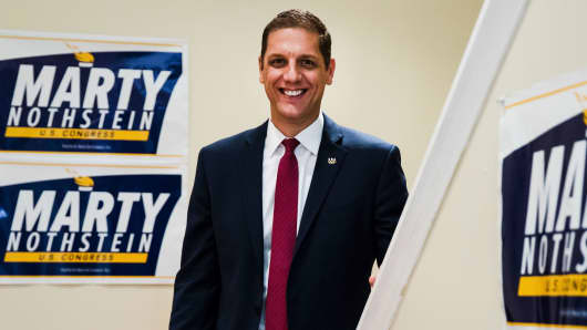 Republican congressional candidate Marty Nothstein poses for a photograph in Bethlehem, Pa., Tuesday, Sept. 18, 2018.