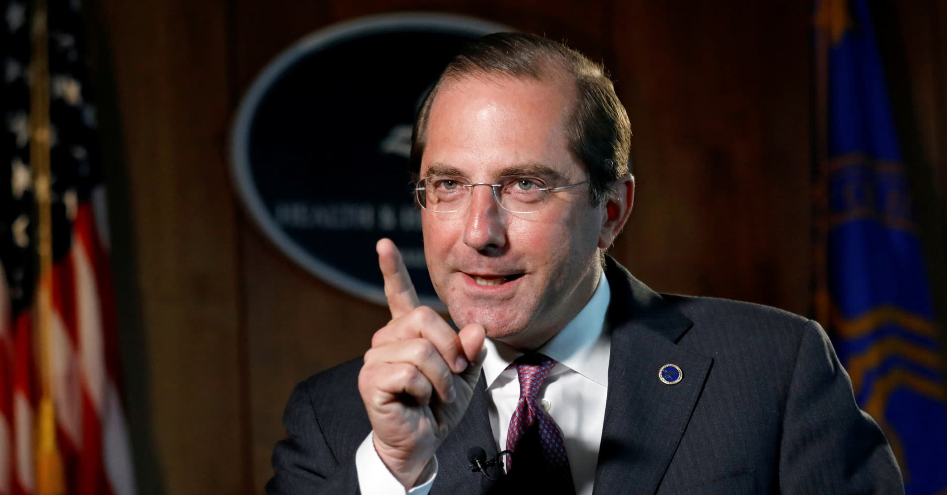 Health and Human Services Secretary Alex Azar speaks during an interview with Reuters in Washington, U.S., August 17, 2018.