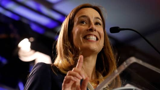 Mikie Sherrill, Democratic U.S. congressional candidate for New Jersey's 11th district, speaks during a campaign kickoff rally at Montclair State University in Montclair, New Jersey, U.S., September 5, 2018.