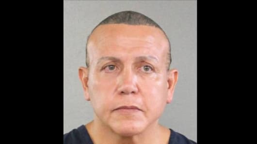 A mugshot of suspected package bomber Cesar Sayoc Jr.