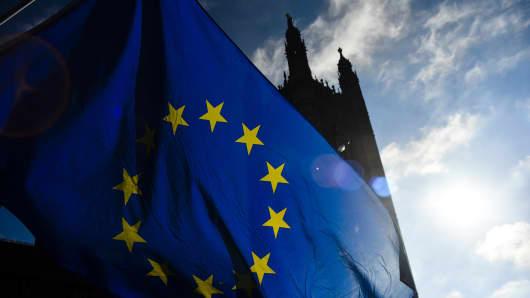 An EU flag outside Parliament.