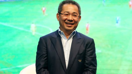 Chairman of Leicester City Vichai Srivaddhanaprabha talks during a Leicester City press conference ahead of their post-season tour of Thailand at Suvarnabhumi Airport on May 18, 2016 in Bangkok, Thailand.