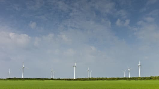 This image shows wind turbines at Airtricity, Richfield Wind Farm at Kilmore, County Wexford.