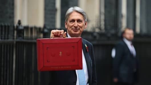 Chancellor of the Exchequer, Philip Hammond, presents the red Budget Box as he departs 11 Downing Street to deliver his 2018 budget announcement to Parliament on October 29, 2018 in London, England.