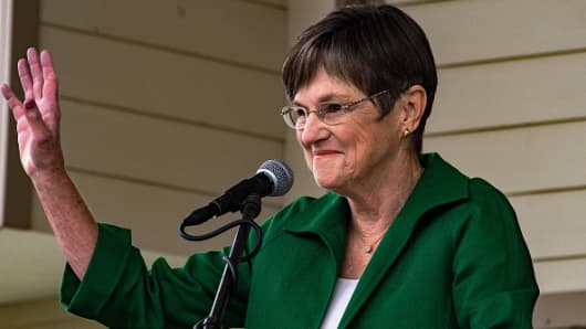 Democratic candidate state senator Laura Kelly responds to questions on stage during the Gubernatorial debate at the Kansas State Fair in Hutchinson, Kansas, September 8, 2018.
