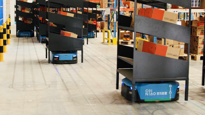 Alibaba opens China's biggest robot warehouse for Singles Day
