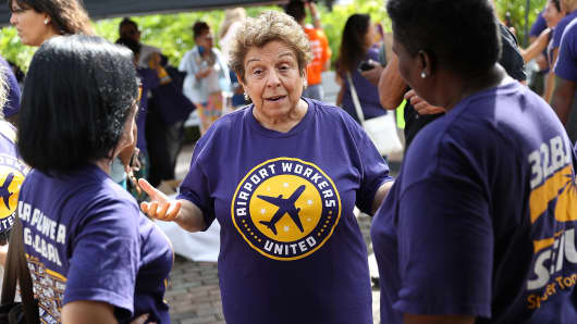 Florida Democratic Congressional candidate Donna Shalala attends  a protest at Miami International Airport as airport workers call for fair wages, union rights, paid sick leave, and safe workplaces on October 2, 2018 in Miami, Florida.