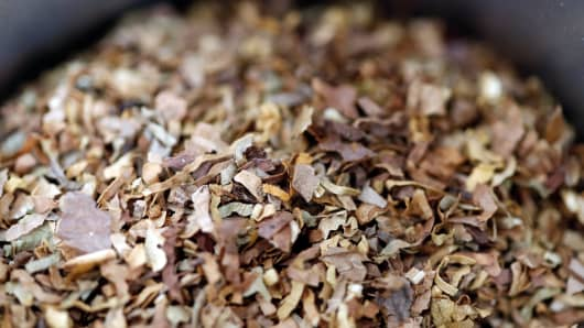 Tobacco for rolling cigarettes is pictured in Brioude, France, June 8, 2018.