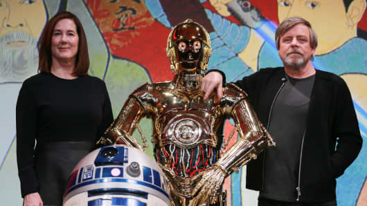 Producer Kathleen Kennedy, C-3PO and Mark Hamill attend the 'Star Wars: The Last Jedi' press conference at the Ritz Carlton Tokyo on December 7, 2017 in Tokyo, Japan.