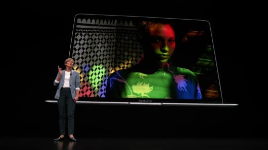 Apple shows off new MacBook Air in Brooklyn.