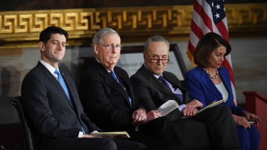 Speaker of the House, Paul Ryan (R-WI), Senate Majority Leader, Mitch McConnell (R-KY), Senate Minority Leader, Chuck Schumer (D-NY), and House Minority Leader, Nancy Peolosi, are seen during a ceremony for Bob Dole, former Senate Majority Leader, as he was presented the Congressional Gold Medal in the United States Capitol rotunda on Wednesday January 17, 2018 in Washington, DC.