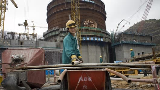 A construction worker works on the Phase II nuclear power plant at the LingAo nuclear power plant in Daya Bay, Guangdong province, China.