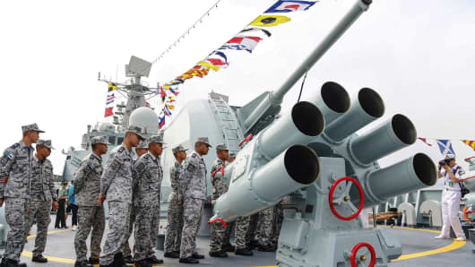 October 24, 2018: Thai sailors visiting Chinese guided missile destroyer Guangzhou during the ASEAN-China Maritime Exercise at a military port in Zhanjiang.