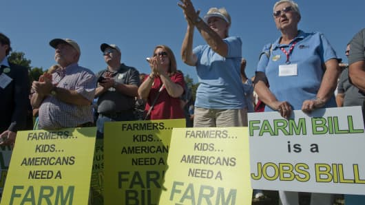 A National Farmers Union rally urges Congress to pass a farm bill before expiration of the old bill on Sept. 30, 2018.