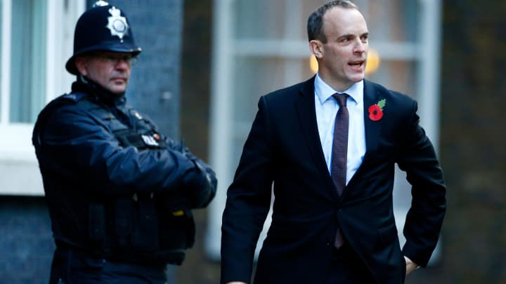 Britain's Secretary of State for Exiting the European Union Dominic Raab arrives in Downing Street in London, Britain, October 29, 2018.