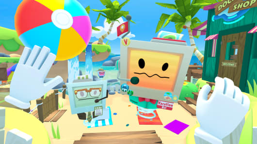 Vacation Simulator is a VR game by Google's Owlchemy Labs.