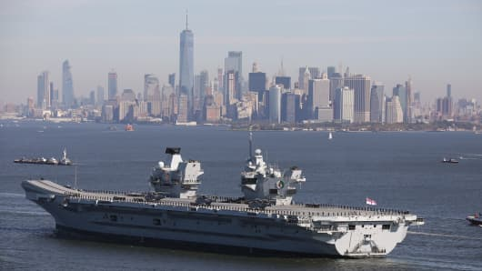The UK's HMS Queen Elizabeth aircraft carrier visits New York City.