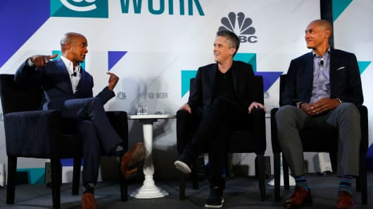From left: Jon Fortt, Aaron Levie of Box and Chris Young of McAfee at CNBC's Productivity@Work event, October 30, 2018.